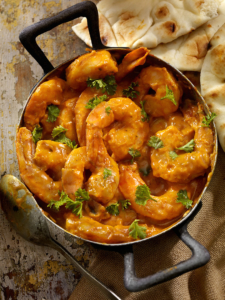 Curry Shrimp with Rice, Fresh Parsley and Naan Bread